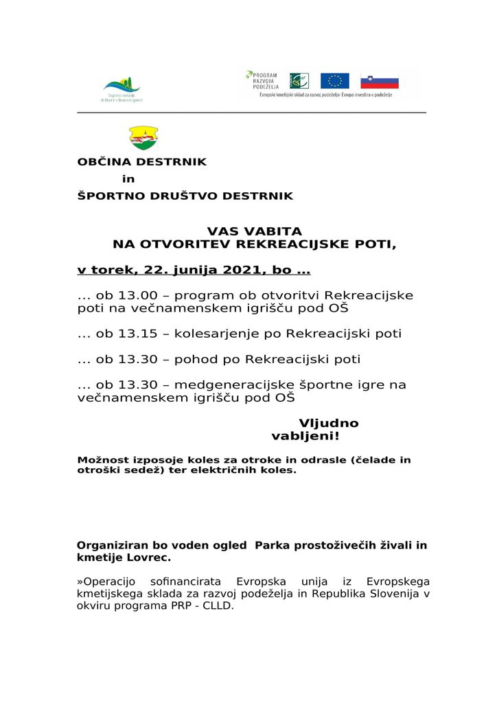 VABILO NA OTVORITEV REKREACIJSKE POTI 22.6.2021