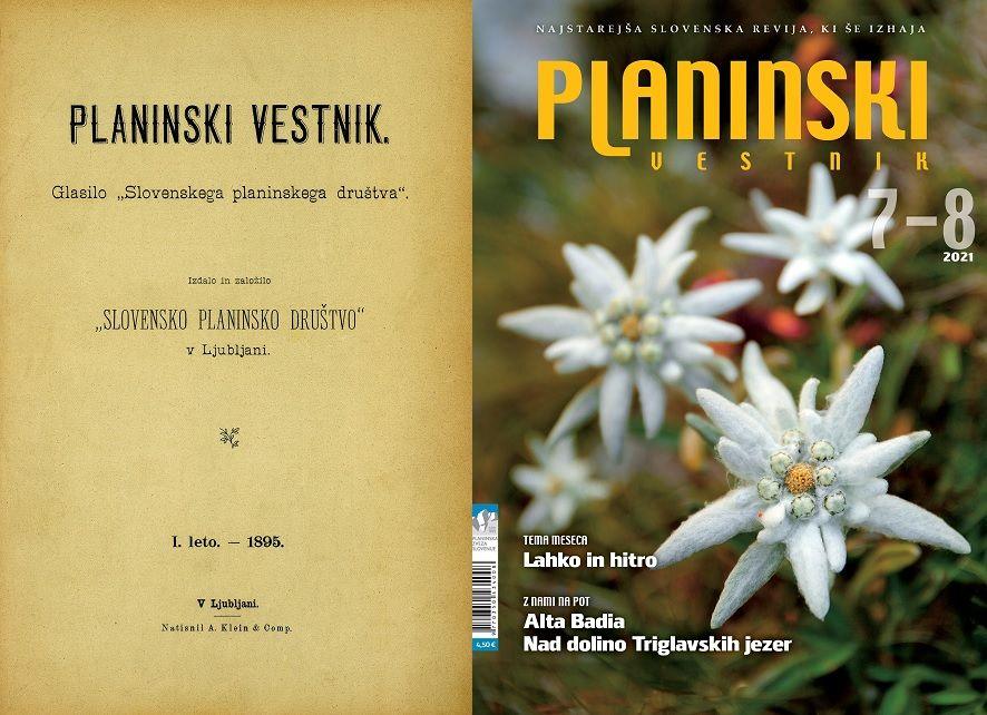 Prva in zadnja naslovnica Planinskega vestnika