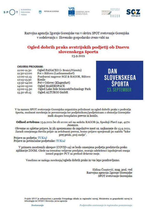 Ogled dobrih praks avstrijskih podjetij ob Dnevu slovenskega športa