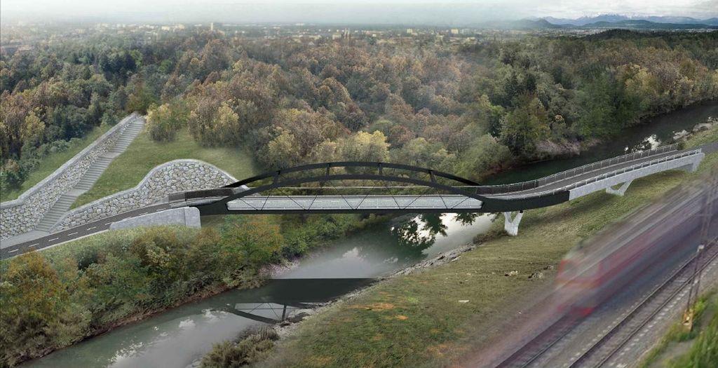 Grafika brvi čez Voglajno v okviru kolesarske povezave Celje - Štore - Šentjur