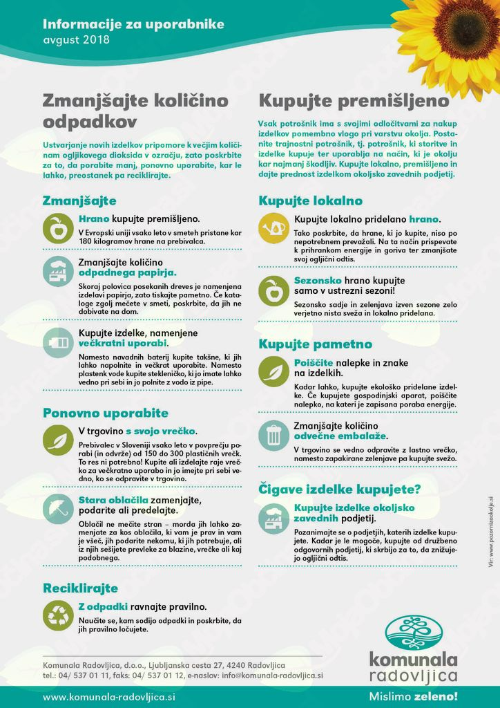 Komunala Radovljica: napotki za zmanjšanje količine odpadkov