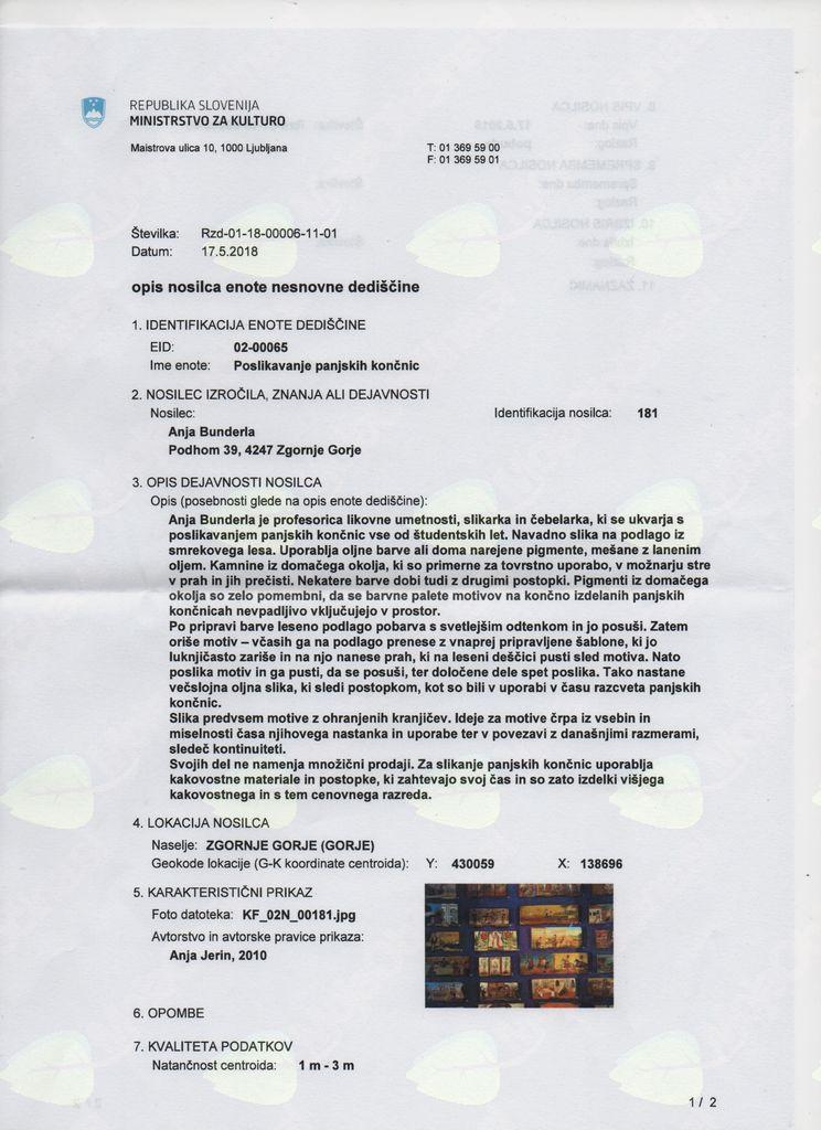 Poslikavanje panjskih končnic v Registru nesnovne kulturne dediščine Slovenije