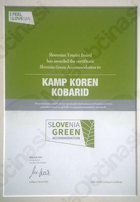 Kampu Koren podeljen certifikat Slovenia Green Accommodation