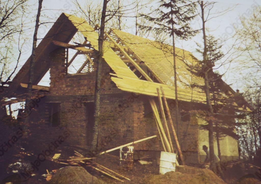 Prizor iz pol stoletja starega filma o gradnji koče na Planini