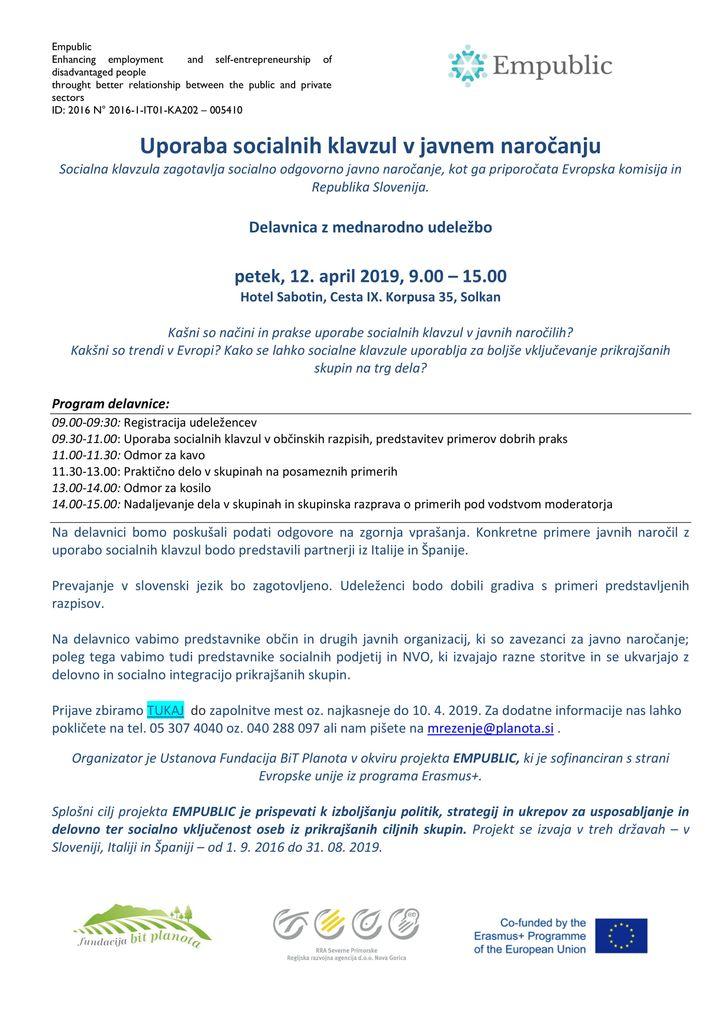 Brezplačna delavnica - Uporaba socialnih klavzul v javnem naročanju