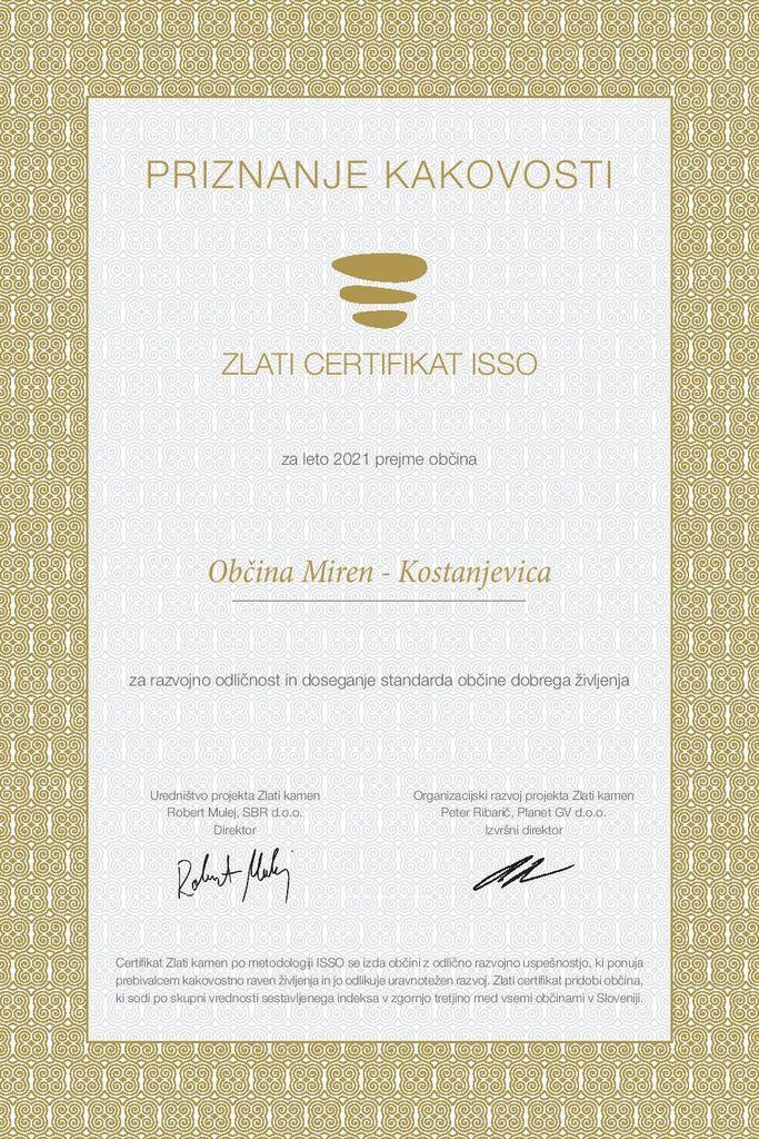 Občina Miren – Kostanjevica prejela zlati certifikat ISSO