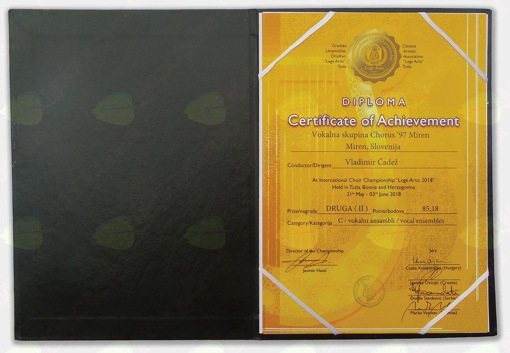 Diploma in srebrna plaketa za 2. mesto