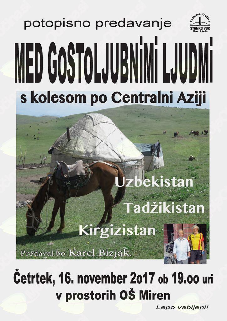 """Potopisno predavanje """"MED GOSTOLJUBNIMI LJUDMI"""" s kolesom po Centralni Aziji"""