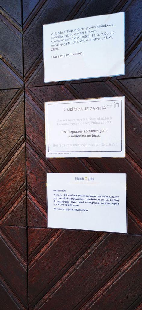 Graščina in muzeji ne delujejo
