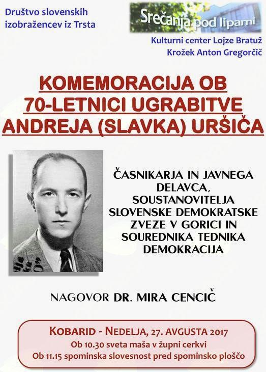 Komemoracija ob 70-letnici ugrabitve Andreja (Slavka) Uršiča