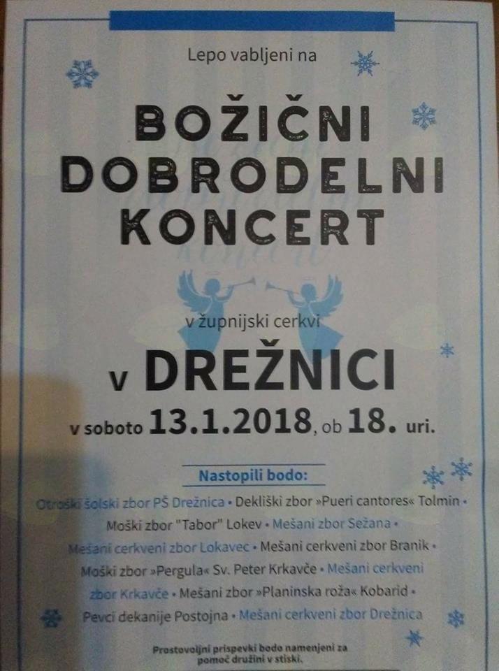 Božični dobrodelni koncert v Drežnici