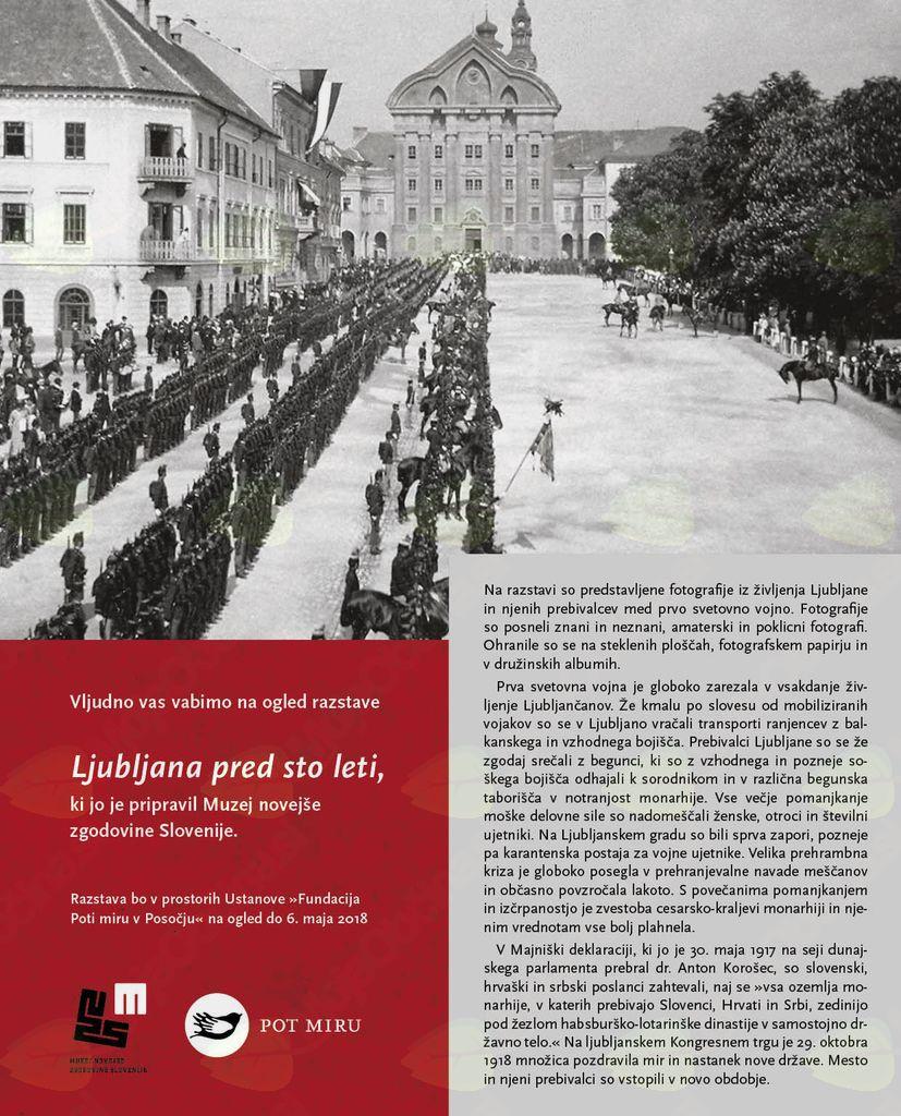 """Razstava Muzeja novejše zgodovine Slovenije z naslovom """"Ljubljana pred sto leti"""""""