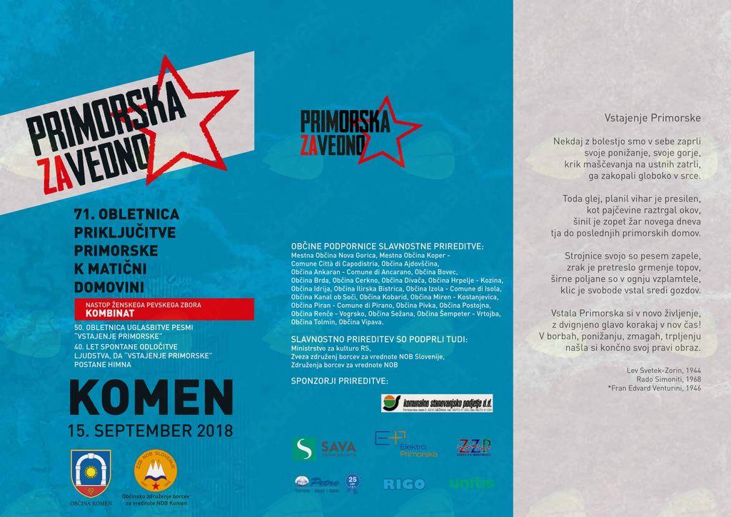 Prireditev ob 71. obletnici priključitve Primorske k matični domovini