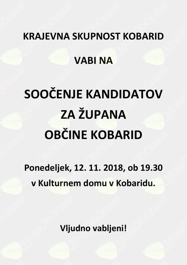 Soočenje kandidatov za župana Občine Kobarid