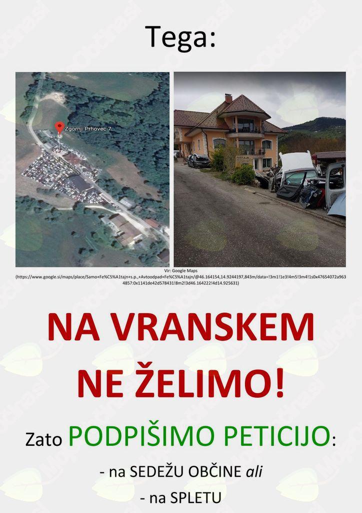 Prispevajte svoj podpis proti avtoodpadu v trgu Vransko