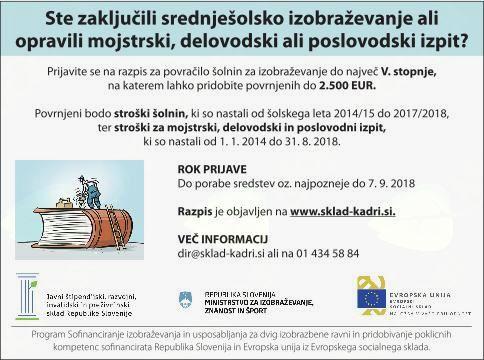 Javni razpis za sofinanciranje šolnin za dvig izobrazbene ravni