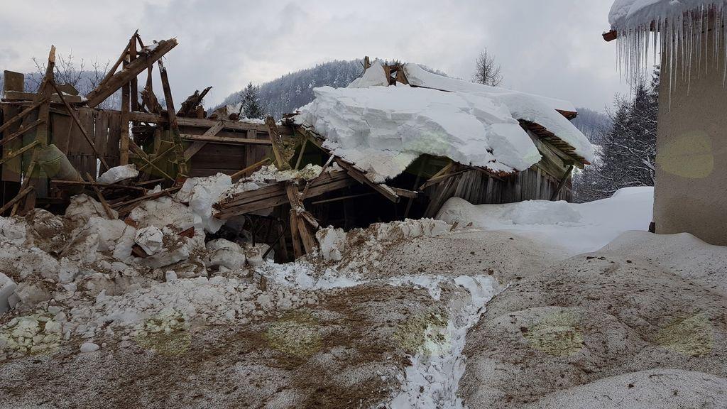 Pod težo snega klonil hlev