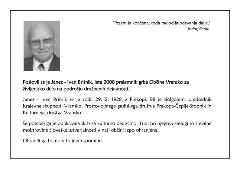 Poslovil se je Janez - Ivan Brišnik