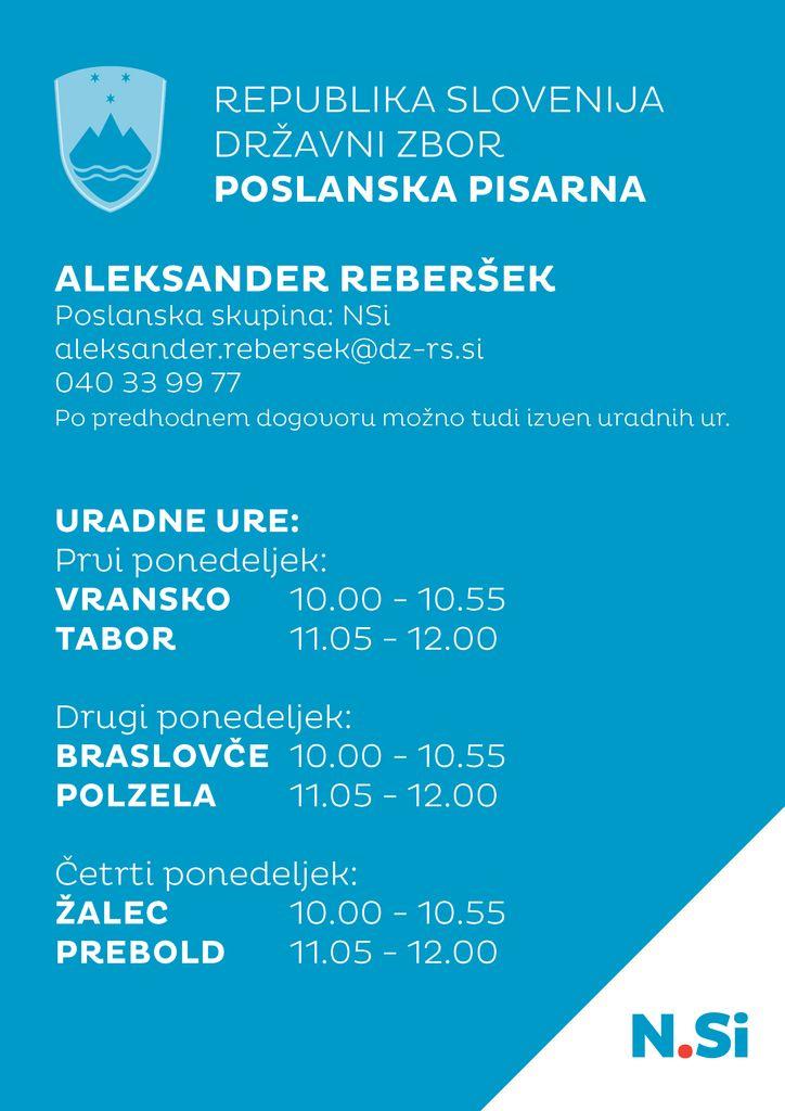 Sprememba uradnih ur poslanske pisarne poslanca Aleksandra Reberška