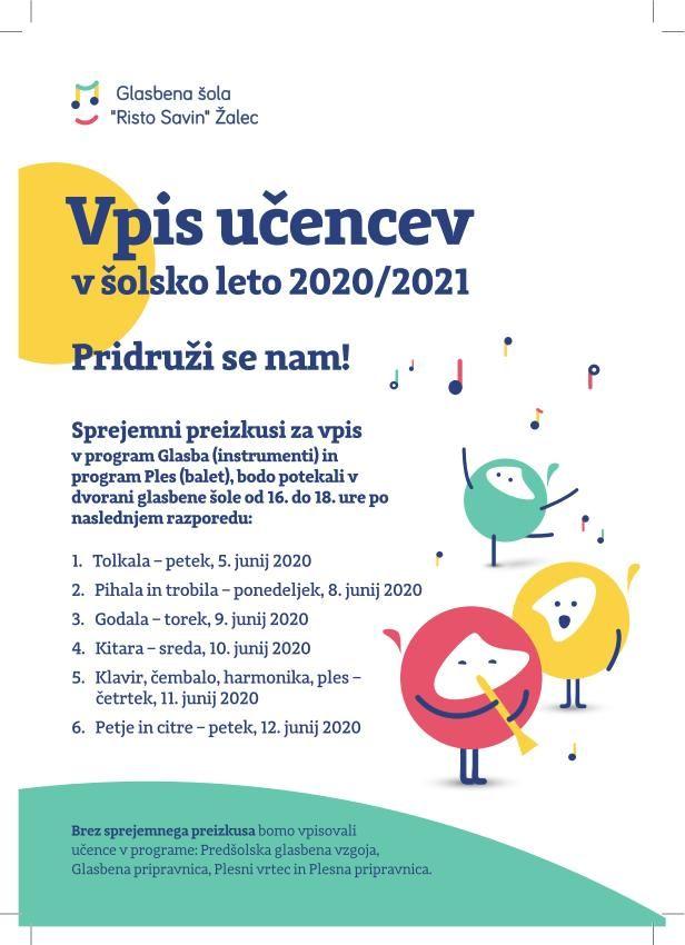 Vpis v glasbeno šolo za šolsko leto 2020/2021
