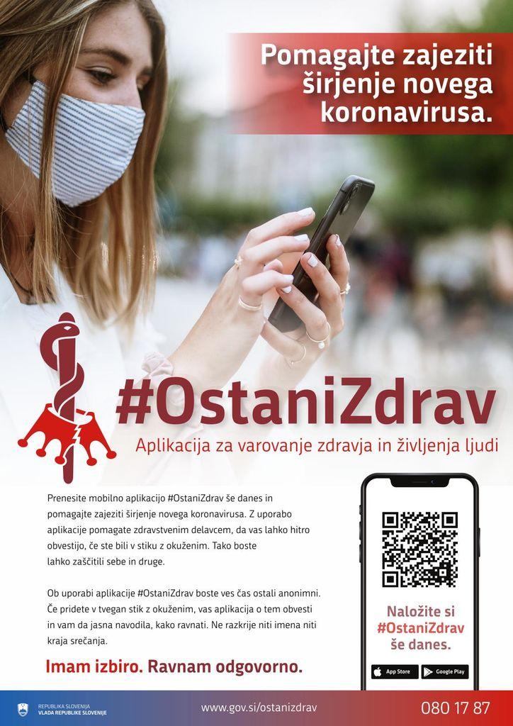 Z namestitvijo mobilne aplikacije #OstaniZdrav pomagamo obvladovati koronavirus