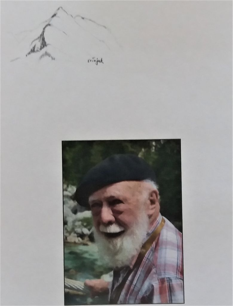 Na osmrtnici njegova podoba pod skico Svinjaka