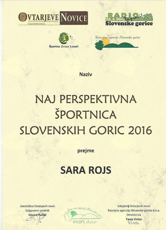 SARA ROJS  je postala NAJ PERSPEKTIVNA ŠPORTNICA SLOVENSKIH GORIC