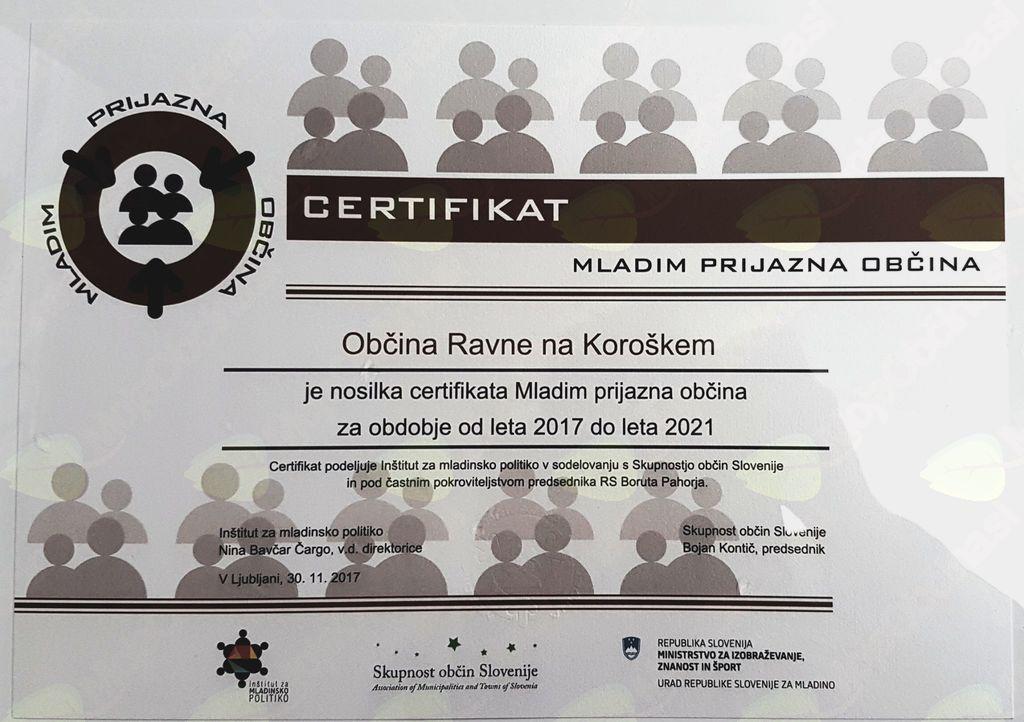 Slavnostna podelitev certifikatov Mladim prijazna občina 2017-2021