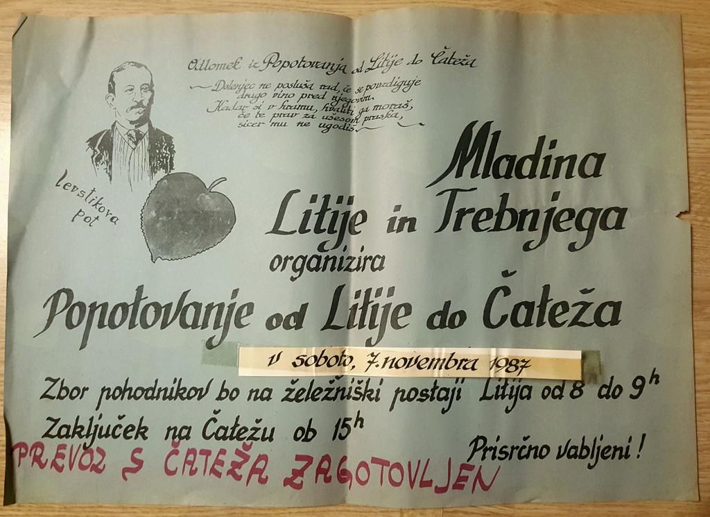 Plakat, s katerim smo leta 1987 vabili na pohod in poimenovanje Levstikove poti