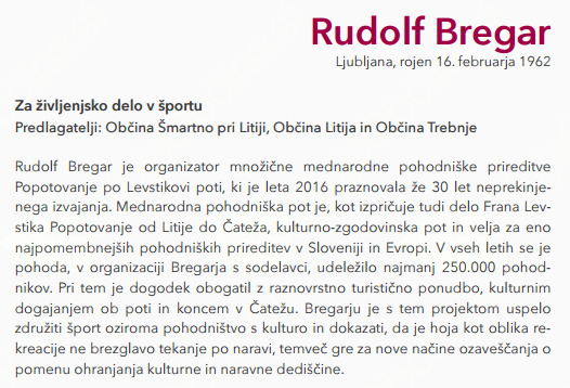 Rudi Bregar, prejemnik Bloudkove plakete za življenjsko delo v športu