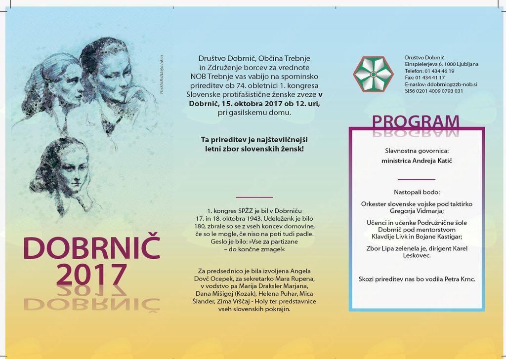 Spominska prireditev ob 74. obletnici 1. kongresa SPŽZ v Dobrnič