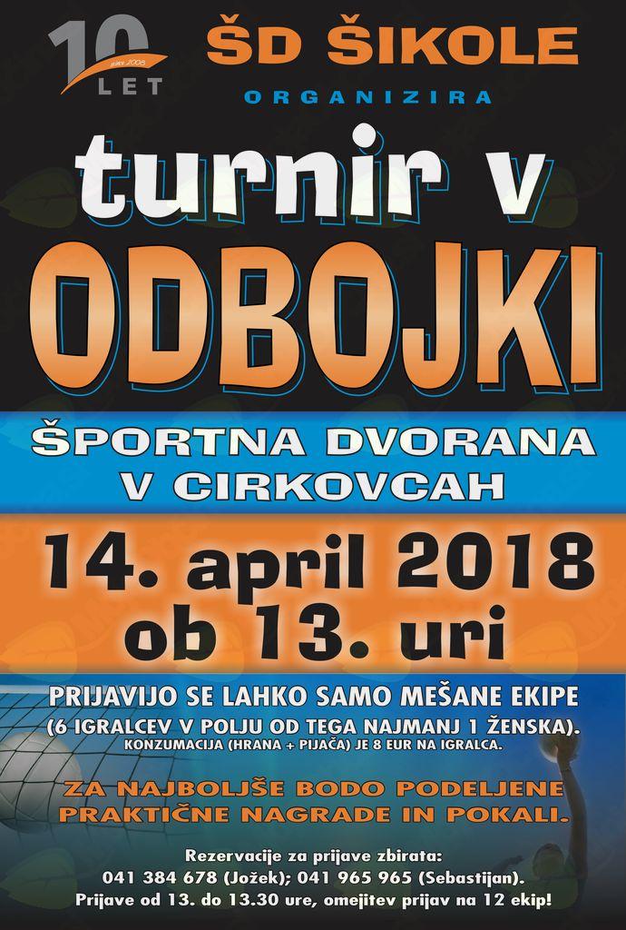 DVORANSKI TURNIR V ODBOJKI - ŠD ŠIKOLE 2018