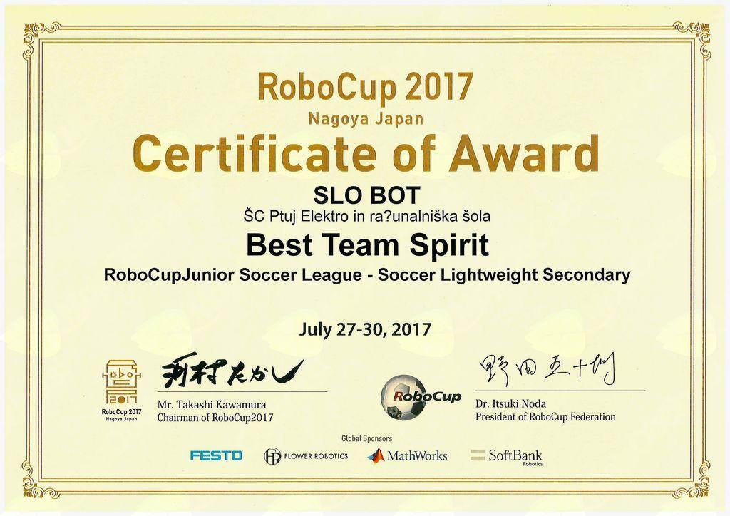 Certifikat za najboljši timski duh