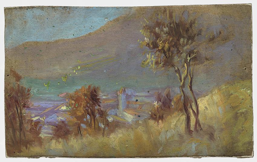 Veno Pilon, Pogled na Ajdovscino, 1914, olje na lepenki, Pilonova galerija