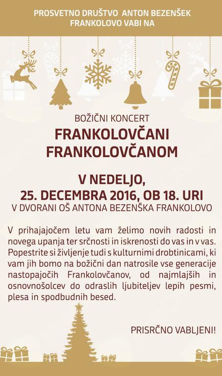 Vabljeni na božični koncert Frankolovčani Frankolovčanom
