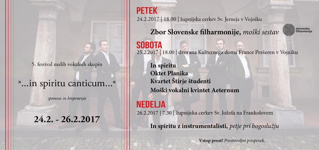 """Vabljeni na 5. festival malih vokalnih skupin """"in spiritu canticum…"""""""