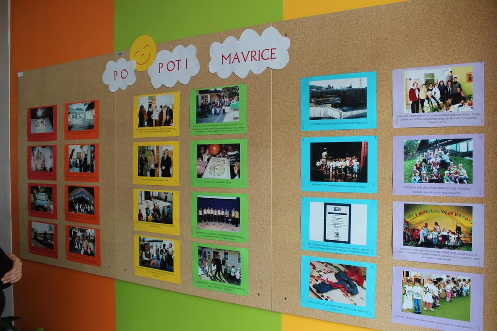 Na hodnikih vrtca se po stenah vrsti prikaz življenja in dela vzgojiteljev in otrok.