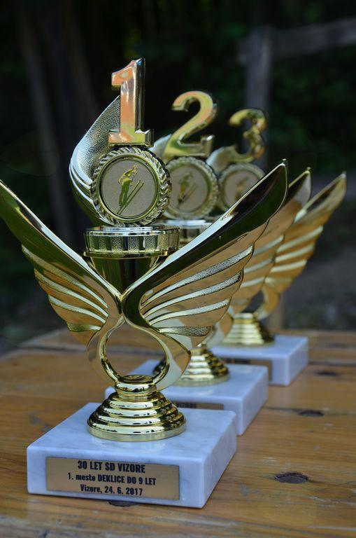Pokali, ki čakajo na najboljše skakalce.
