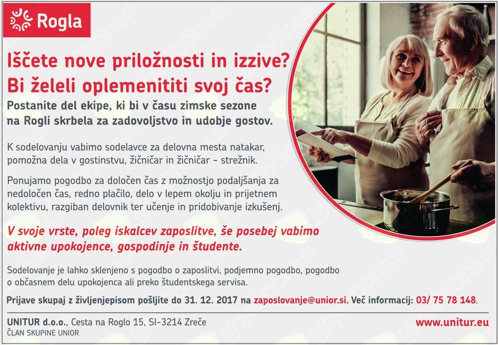 Več prostih delovnih mest v podjetju Unitur d. o. o.