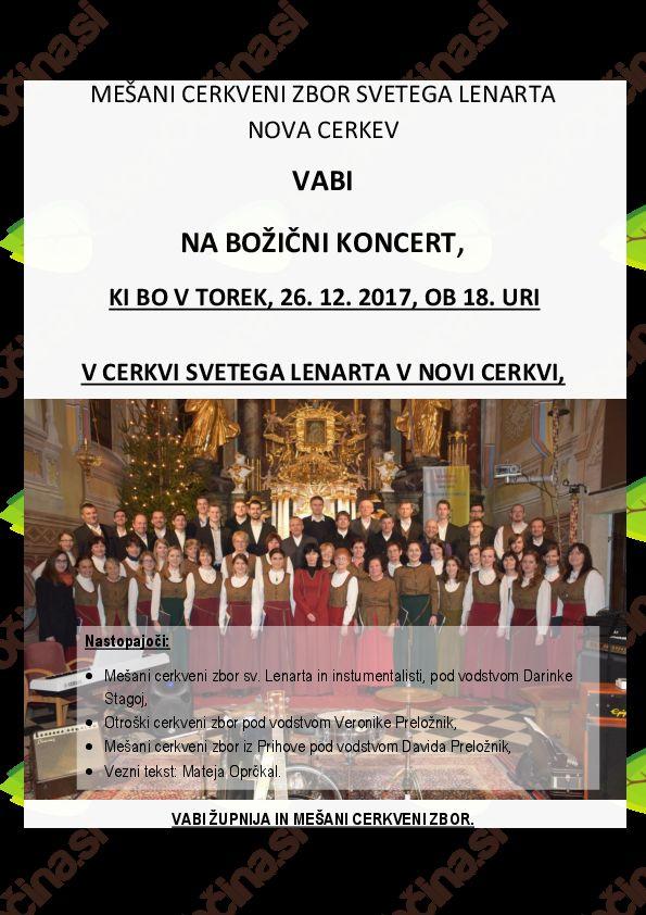 Božični koncert Mešanega cerkvenega zbora sv. Lenarta Nova Cerkev