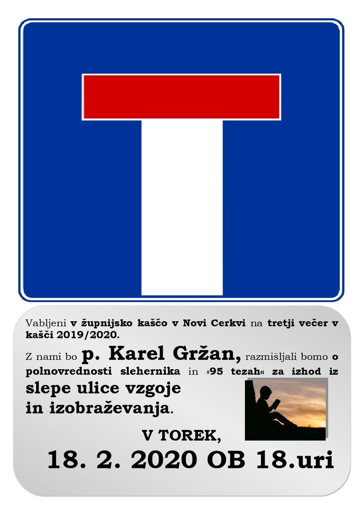 3. večer v kašči 2019/2020, gost p. Karel Gržan