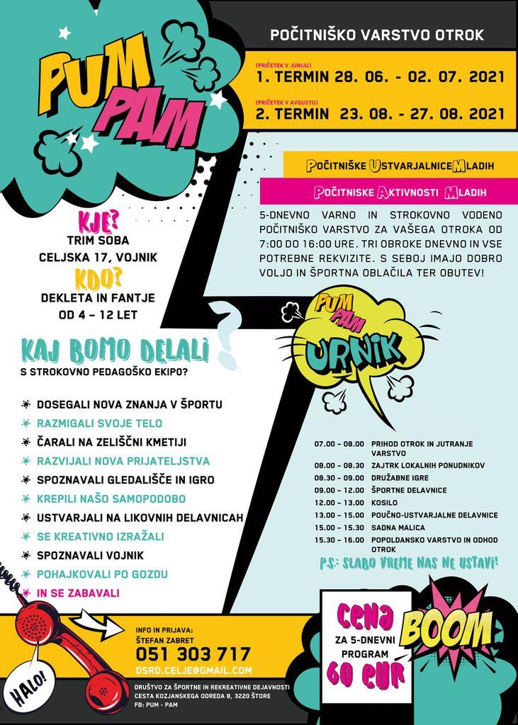 Povabilo: Počitniško varstvo otrok PUM PAM