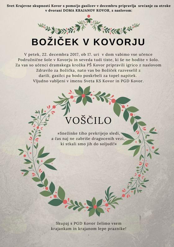 Božiček  bo obdaroval Kovorske otroke