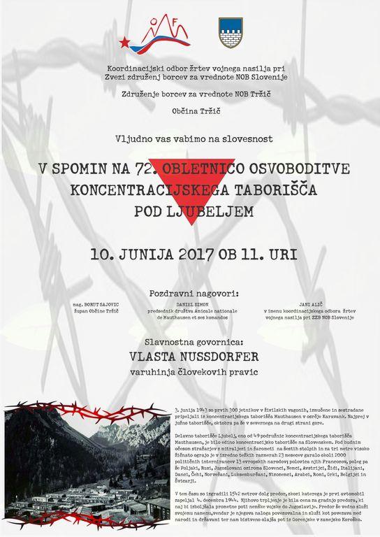 Slovesnost v spomin na 72. obletnico osvoboditve koncentracijskega taborišča pod Ljubeljem