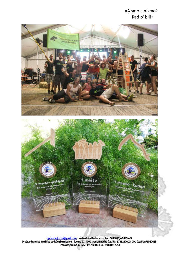 Društvo kranjske in tržiške podeželske mladine si je priborilo laskavi naziv državnega prvaka v kmečkih igrah 2019 in s tem čast izvedbe državnih kmečkih iger 2020