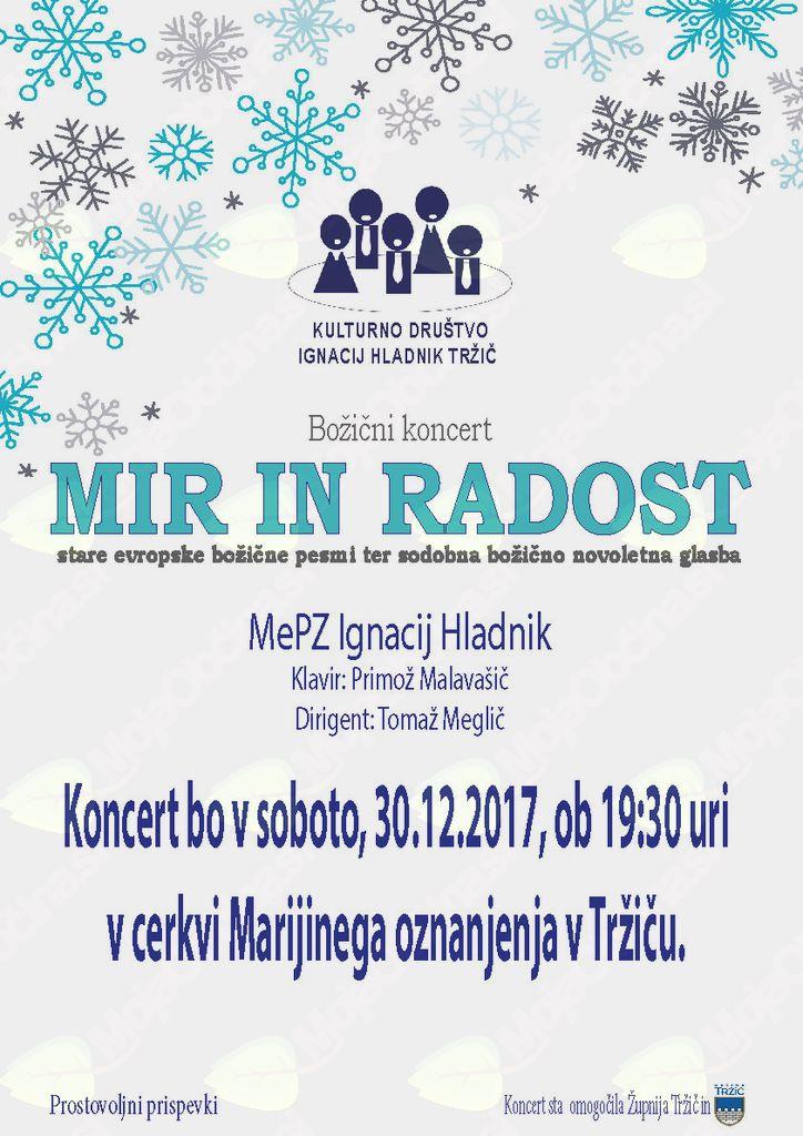 Božični koncert MIR IN RADOST