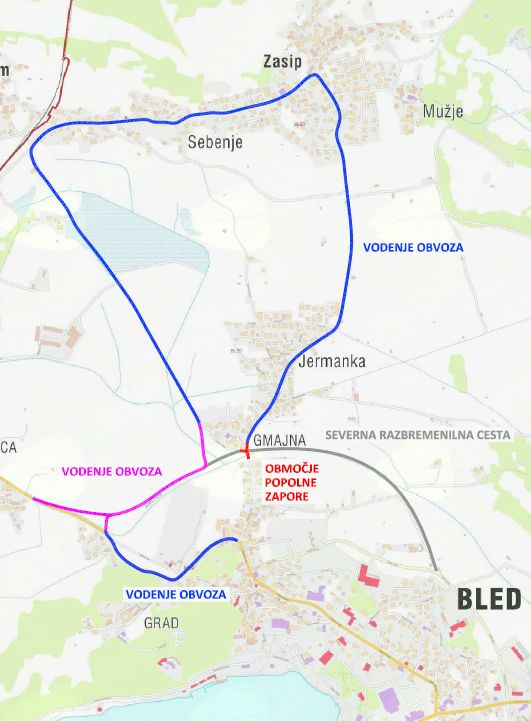 Spremenjene lokacija ustavljanj avtobusov zaradi obvoza