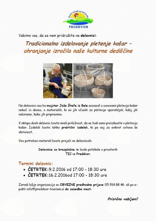 Tradicionalno izdelovanje pletenje košar – ohranjanje izročila naše kulturne dediščine