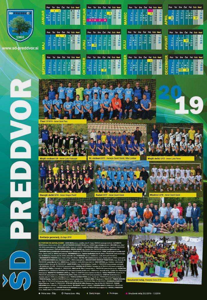 Klubski koledar 2019