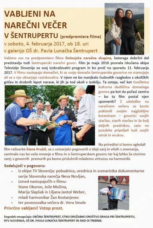 VABLJENI NA NAREČNI VEČER V ŠENTRUPERTU- predpremiera dokumentarnega filma